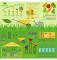 Garden work infographic elements working tools set vector