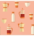 Flat seamless pattern with coffee items vector