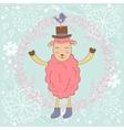 Cute christmas card with sheep and bird vector