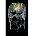Beautiful angel with wings in black background vector