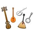 Folk stringed musical instruments design elements vector