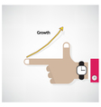 Hands of businessman with graph increase sign vector