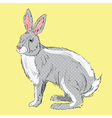 Retro style hand drawn rabbit vector