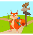 Funny squirrel for a walk vector