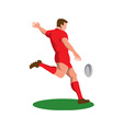 Rugby player kicking ball retro vector