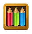 Wooden box with color pencils vector