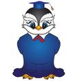 Cartoon bird in a square academic cap 2 vector