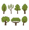 Set of different green trees cartoon style vector