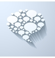 White chat bubble symbol on light grey background vector
