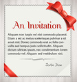 Invitaion with red bow and ribbon vector