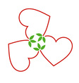 Hearts with leaves gathered in one place vector