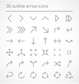 Set of outline arrow icons vector