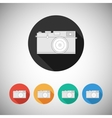Film camera icon on round background vector