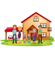 A big family in front of a big house vector