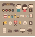 Set of movie design elements and cinema icons in vector
