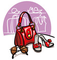 Female handbag shoes and sunglasses vector