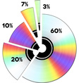 Cd income percentage pie diagram vector