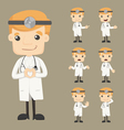 Set of doctor characters poses vector