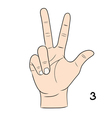 Sign language number 3 vector