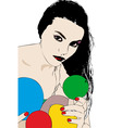 A beautiful woman is behind colorful balloons vector
