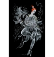 Watercolor magic fairy on black background vector