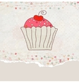 Retro valentine card with cupcake eps 8 vector