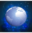 Globe network connections blue design background vector