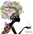 Zodiac sign capricorn fashion girl vector