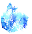 Bluel background with watercolor butterfly vector