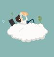 Businessman resting on a cloud vector