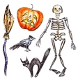 Hand pictured halloween objects vector