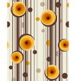 Brown stripes and abstract yellow roses - seamless vector