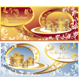 Set post cards with gifts for christmas and new ye vector