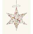 Vintage christmas star bauble greeting card vector