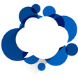 White paper cloud over blue bubbles vector