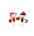 Christmas gifts children with shopping bags vector