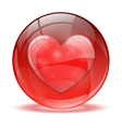3d glass sphere heart icon vector