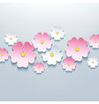 Floral background card with 3d flower vector