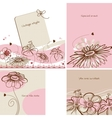 Various floral cards retro style vector