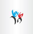 Happy people men calligraphy icon vector