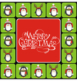 Christmas background with cute penguins vector