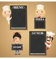 Chefs cartoon characters with chalkboard menu vector