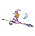 Witch flying on the broom vector