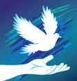 People hand and bird pigeon vector