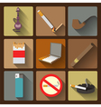 Smoking and accessories icons set vector
