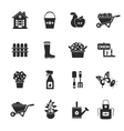 Gardening black icons set vector