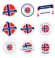 Set of made in norway labels and ribbons vector