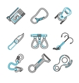 Flat line icons for rock climbing equipment vector