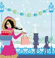 Beautiful girls on winter shopping vector