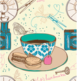 Vintage tea time background seamless pattern vector